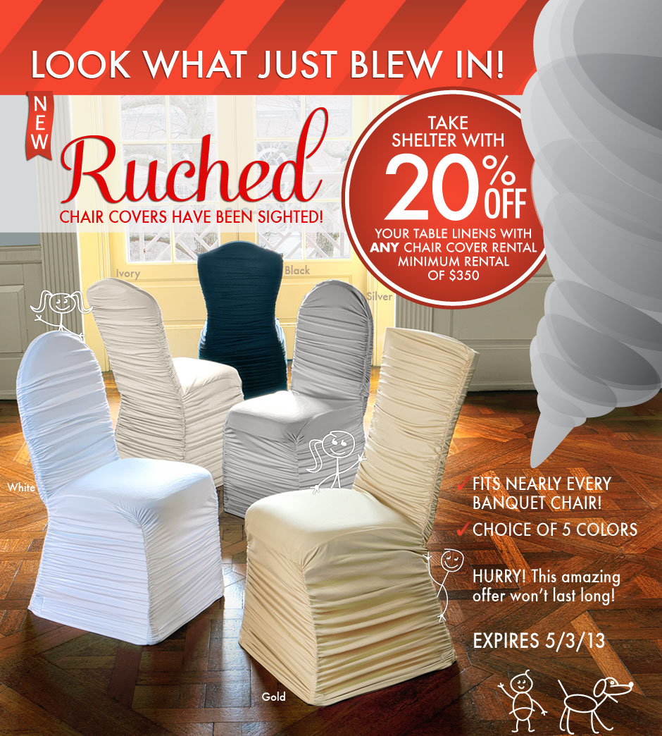 chair cover rentals. look what just blew in! new ruched chair covers! cover rentals