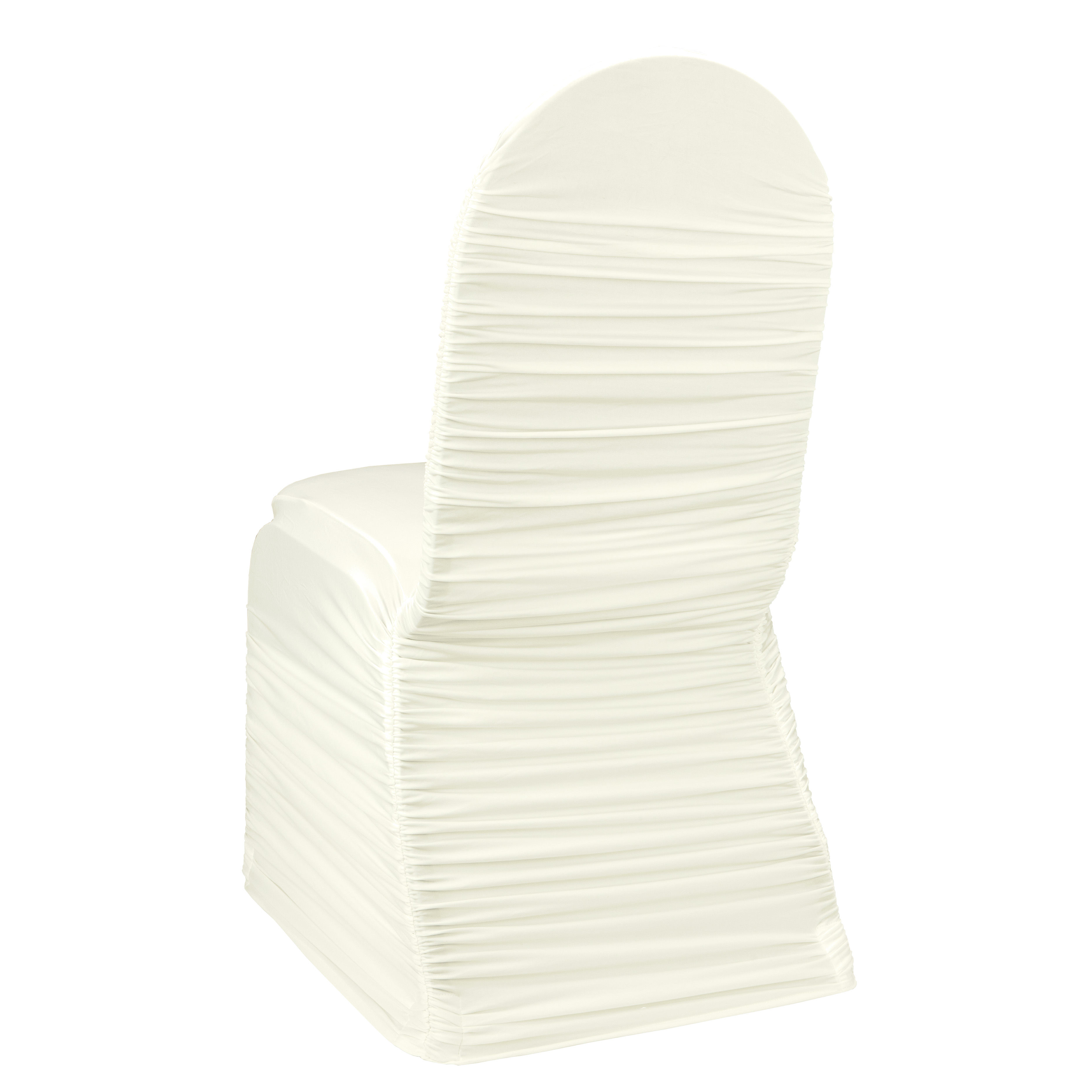 Ivory Ruched Banquet Chair Cover by Chair Covers & Linens