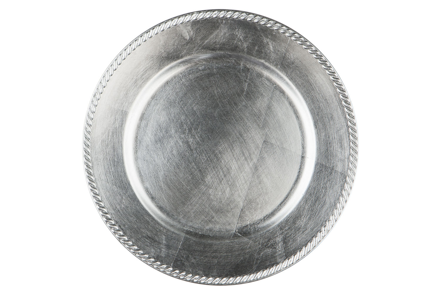 Silver Basic Acrylic Beaded Edge Charger Plate By Chair