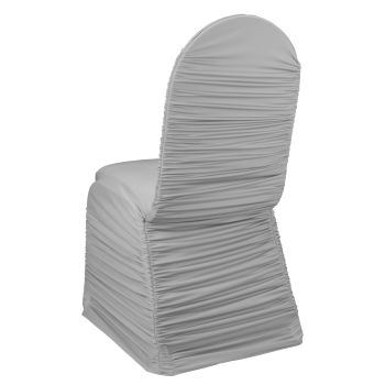 Silver Ruched Chair Cover